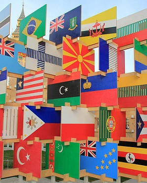 sculpture of flags of the world