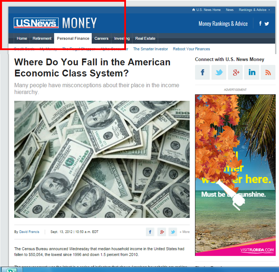 US News Money article. Article title: Where Do You Fall in the American Economic Class System? US News Money logo in top left corner is highlighted with a red border to illustrate the publication title.