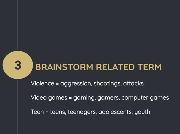 Step 3: Identify related terms. Violence= aggression, shootings, attacks. Video games= gaming, gamers, computer games. Teen= teens, teenagers, adolescents, youth.