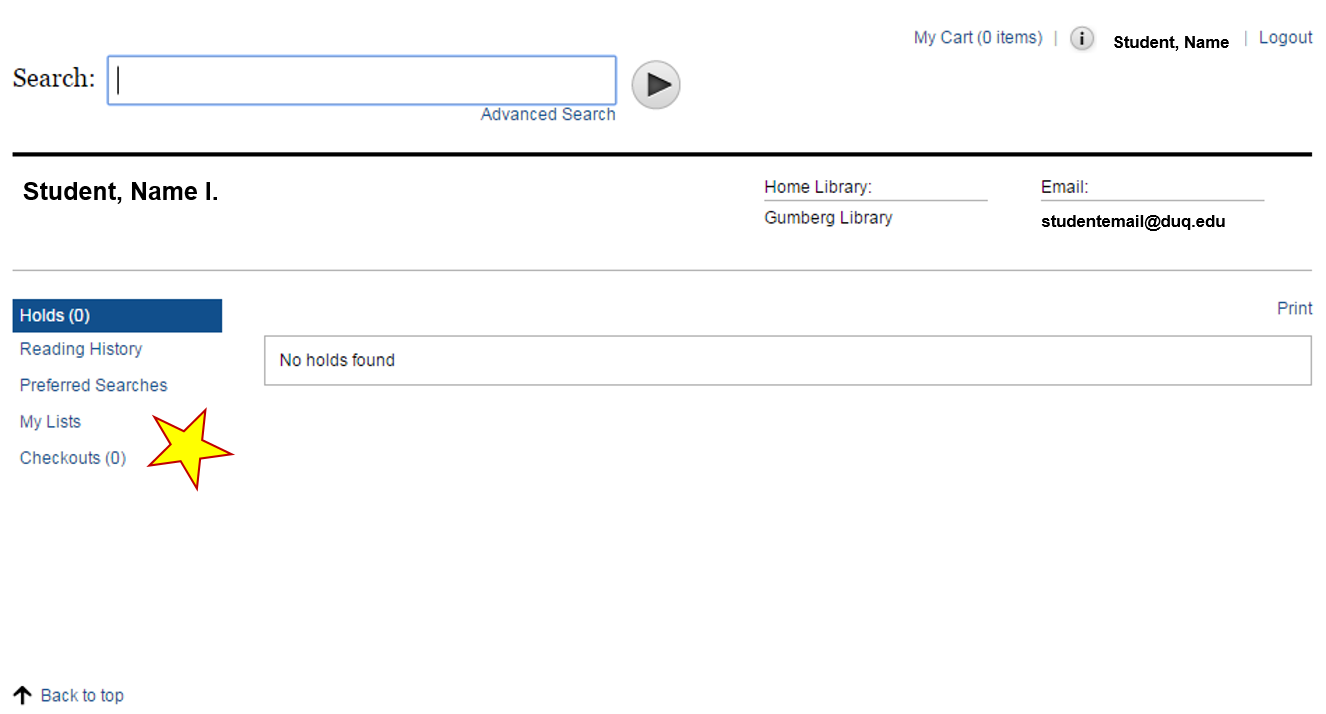 renewals borrowing from gumberg libguides at duquesne university 3 select checkouts to review what books you have checked out from here you can review due dates and titles as well as renew any materials you wish to