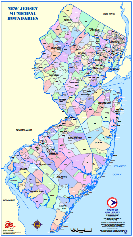 Map Of New Jersey Townships Montana Map - County maps of new jersey
