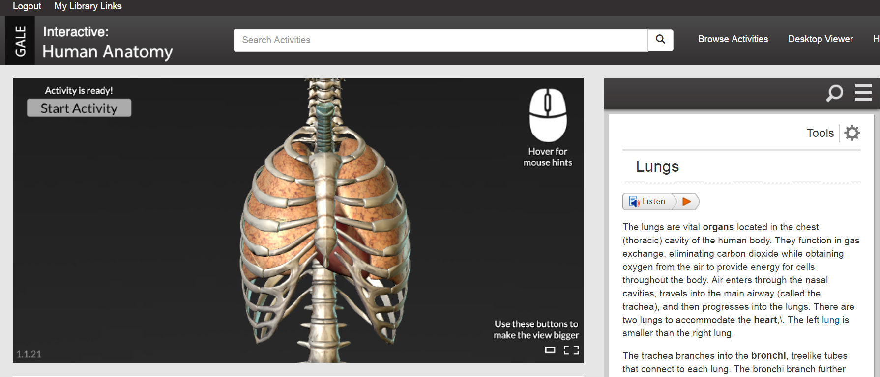 Gale Human Anatomy Database Lung Model