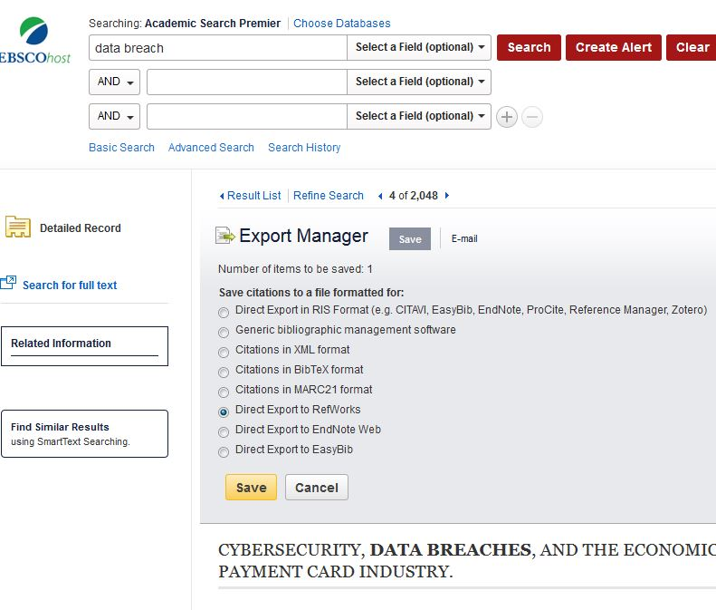 Direct export example from Academic Search Premier database