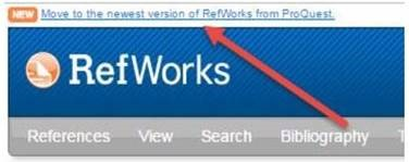 RefWorks migrate button at top of Legacy interface