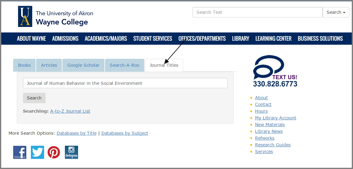 "Screenshot of journal title search box with the journal title ""Journal of Human Behavior in the Social Environment"" entered in the box."