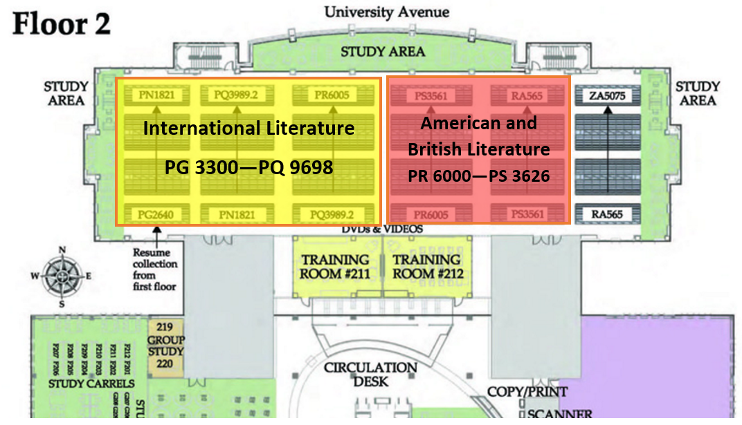 Map of literature books on second floor