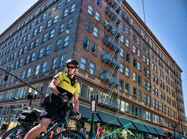 Image of Portland Police Officer on a Bicycle