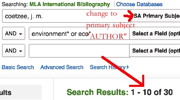 MLA Subject author and keyword search