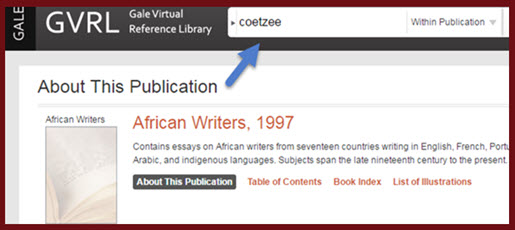 coetzee lookup on gvrl platform which hosts 'African Writers' ebook