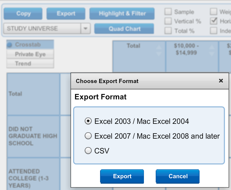 screenshot of export option