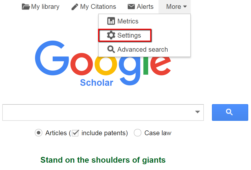 screenshot of settings on google scholar