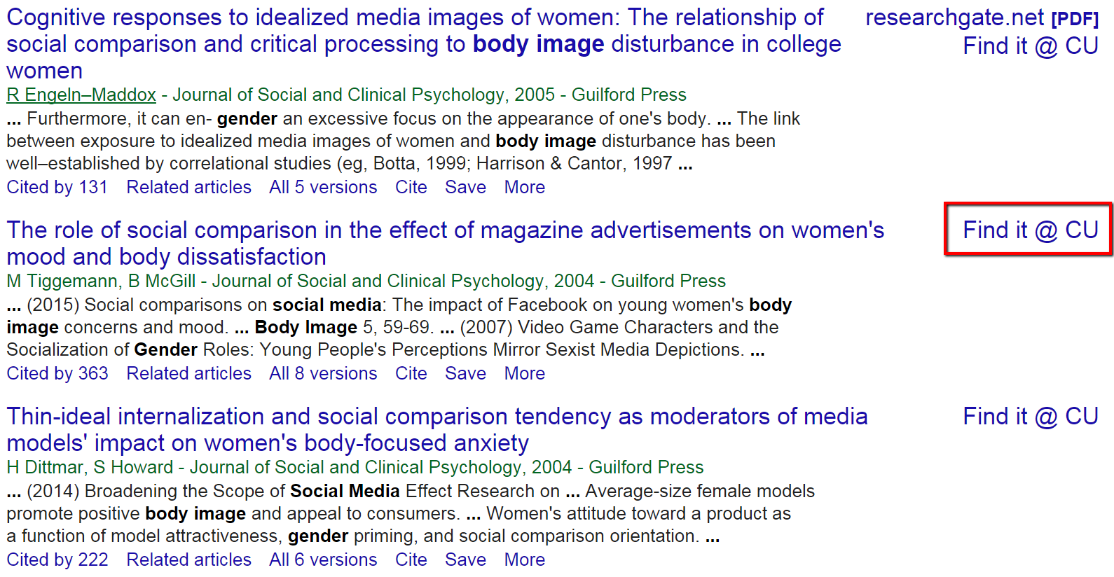screenshot of search results in Google Scholar