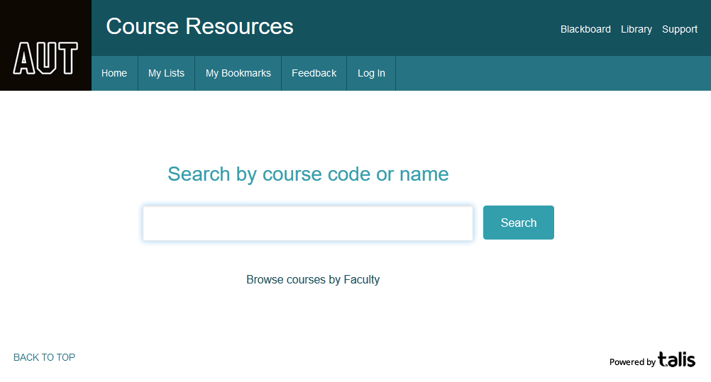 Screen shot of Course Resources Home Page