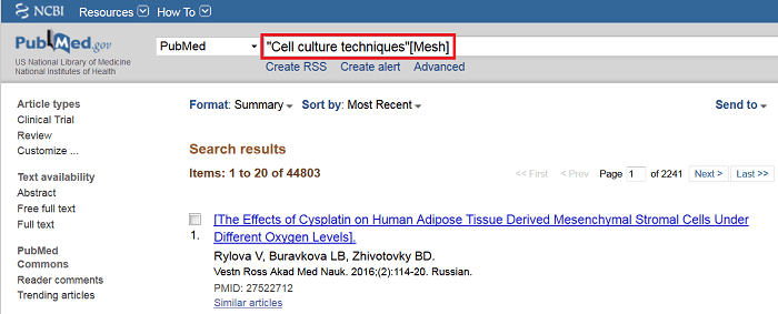 PubMed Search for Cell Culture Techniques