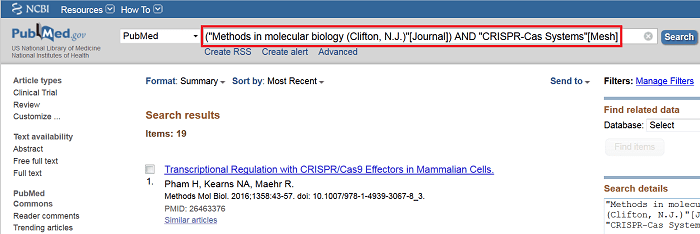 PubMed Search for Methods in Molecular Biology and CRISPR