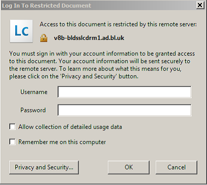 DRM Lite login box