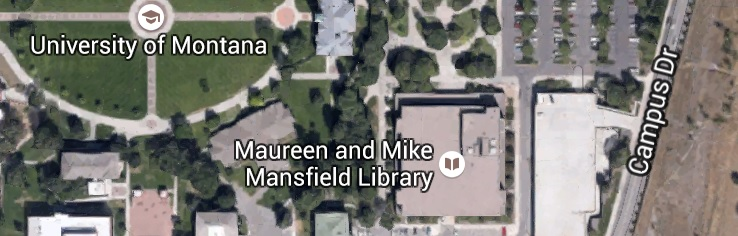 Aerial view of the Mansfield Library