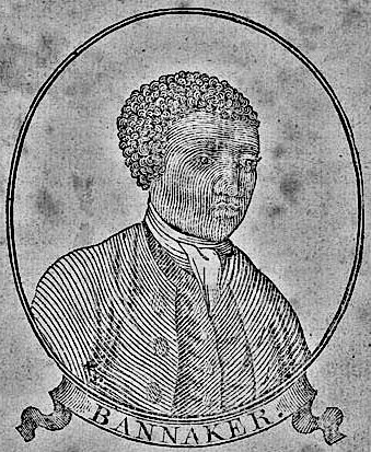 Woodcut portrait of Benjamin Bannaker (Banneker) in title page of a Baltimore edition of his 1795 Pennsylvania, Delaware, Maryland, and Virginia Almanac