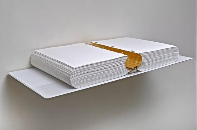 1a.  Canyon (Between Millennia)  1994       2000 sheets of notebook paper, 3-ring binder, gold leaf, steel.      4 x 22 x 12 ""