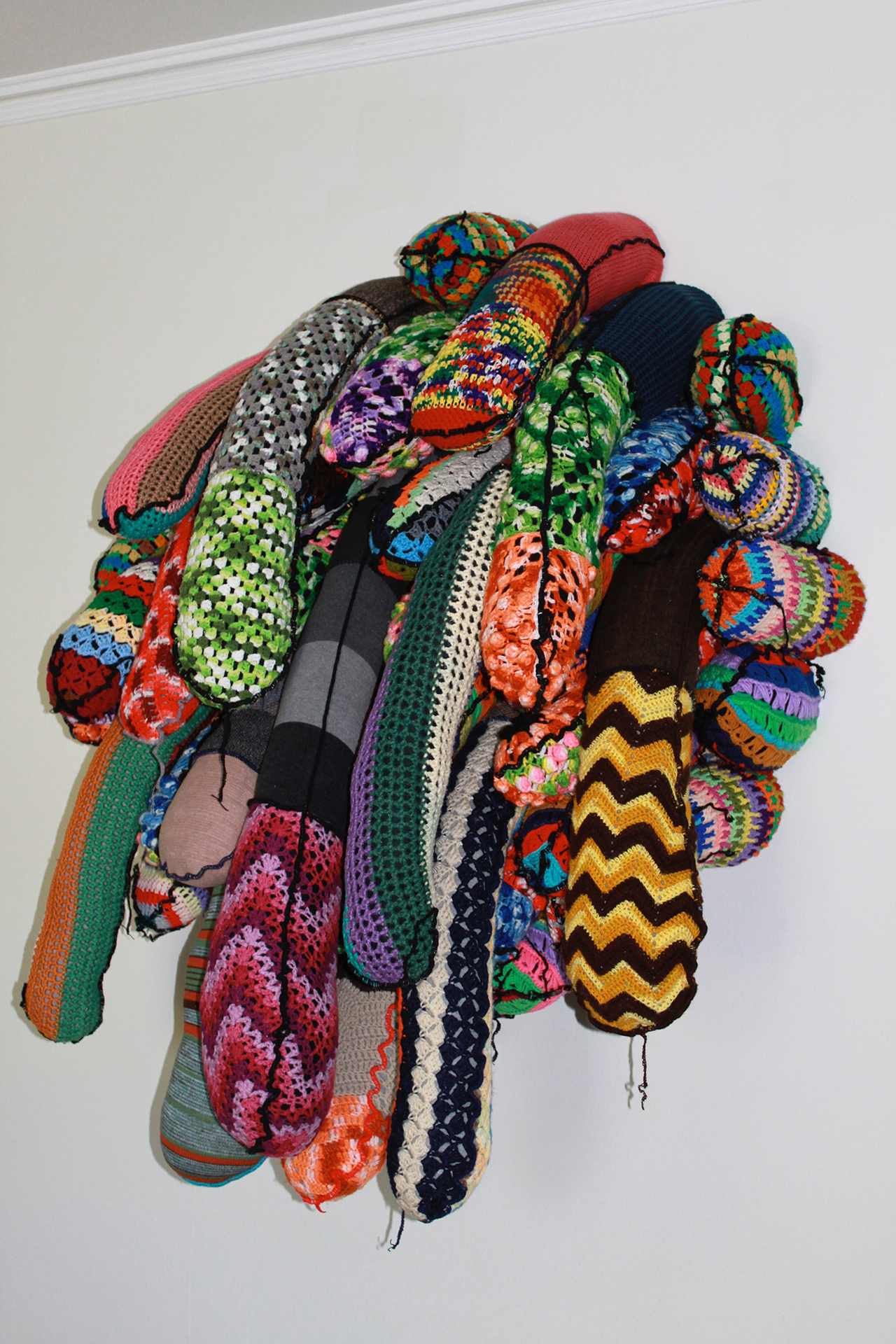 Soft Intervention , 2011, found afghans and polyfill, 60 x 48 x 22 inches
