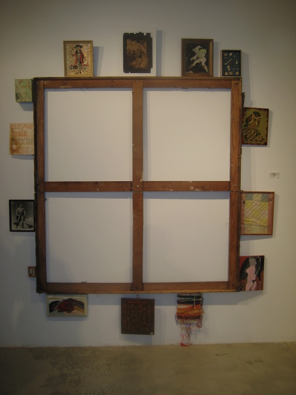 Rectilinear Occlusion Gear, 2011 empty stretcher bars with found, collected, readymade art, 96 x 84""
