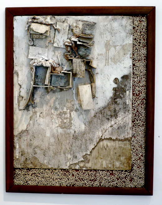 "Dream House, 2010, Found architectural model, aquarium gravel, and enamel on foamcore, 40 X 32"" (framed)"
