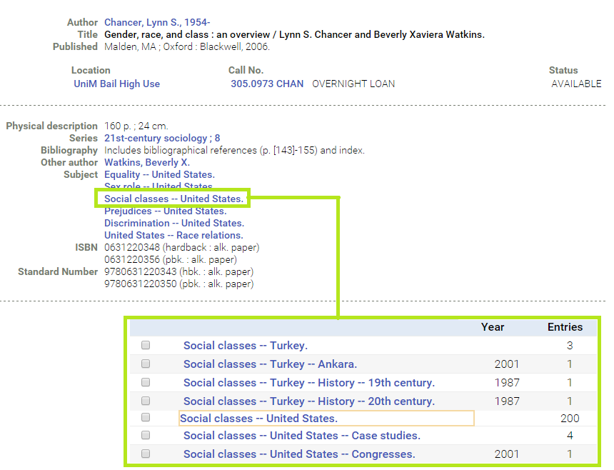 Example image of subject headings in the library catalogue
