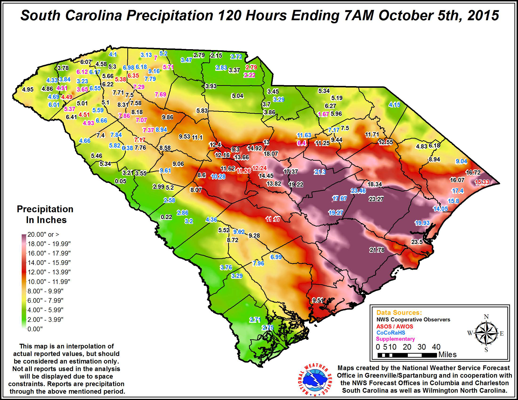 total precipitation in SC map