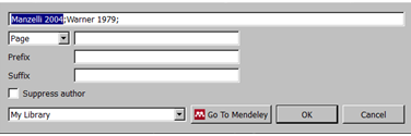 Mendeley Editi Citation window.