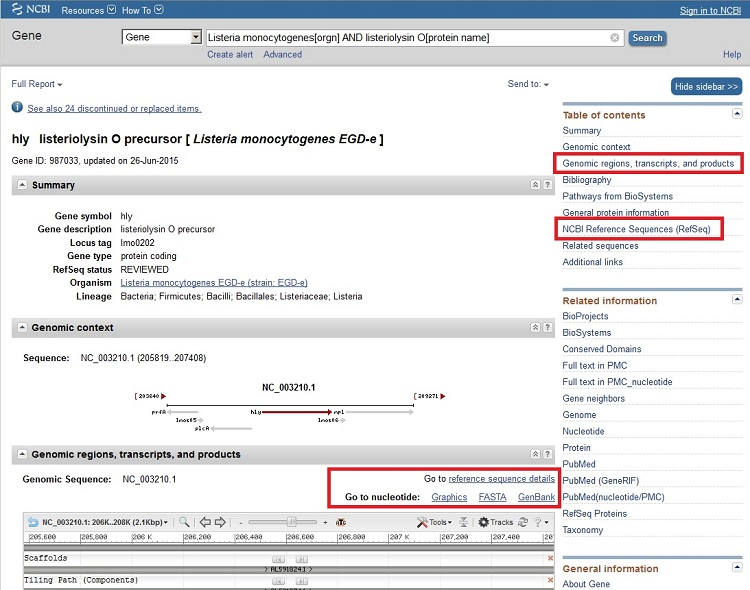 Find sequences ncbi bioinformatics resources an introduction clicking on the genbank link displays the genbank record in the nucleotide database the coding sequence for the gene hly can be found under cds in the stopboris Images