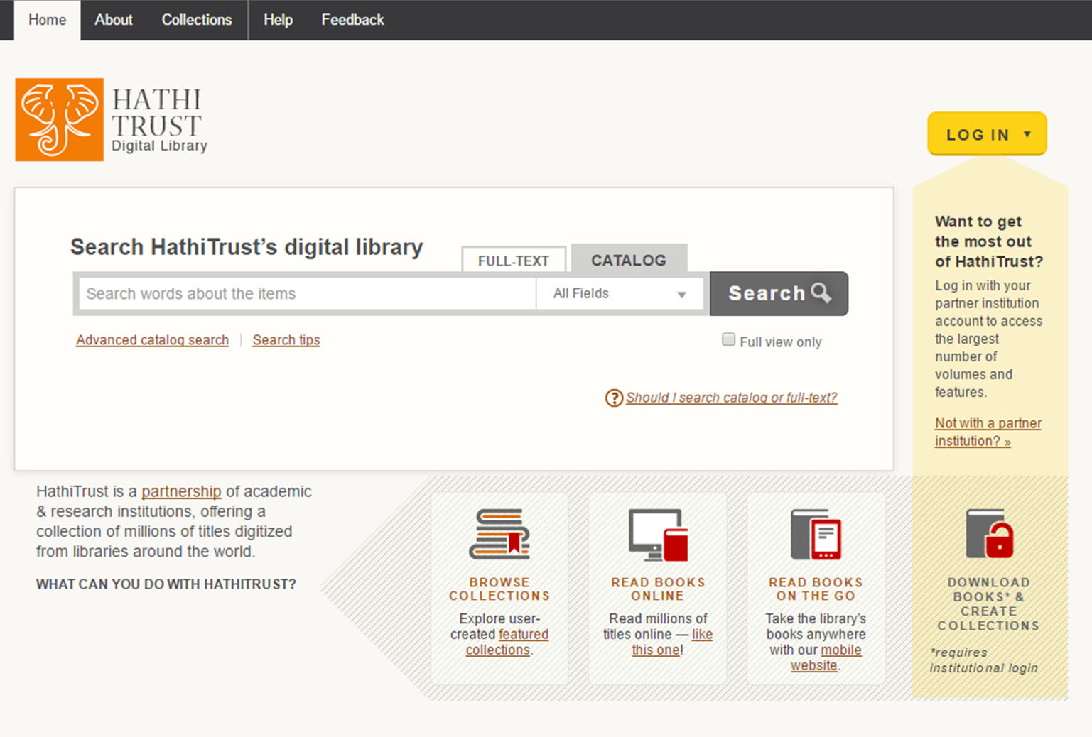 HathiTrust Digital Library catalogue search