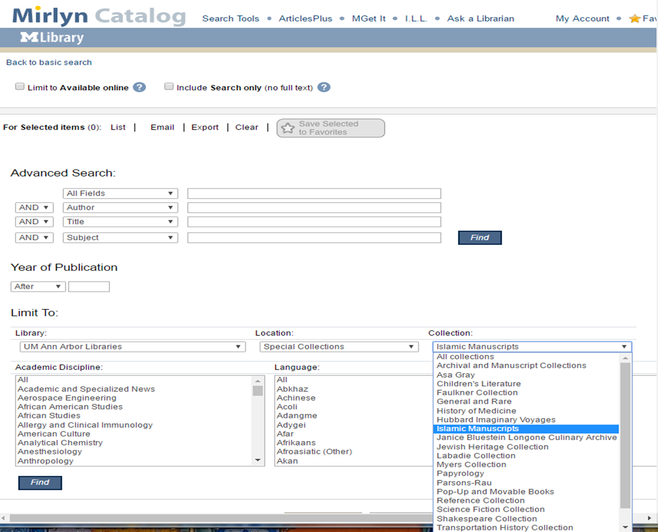 screenshot of advanced search page in online library catalogue Mirlyn