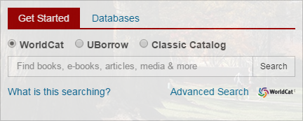 Screenshot of the search box on the library homepage