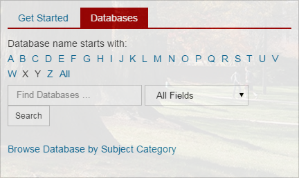 Screenshot of the Find Databases tab on the library homepage search box