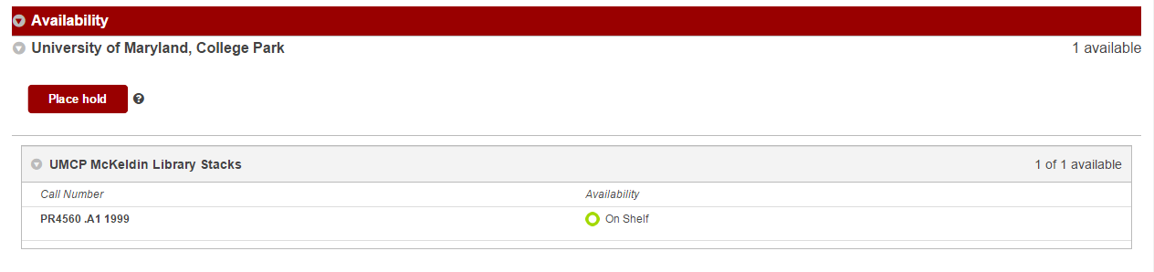 Screenshot of the University of Maryland Availability section