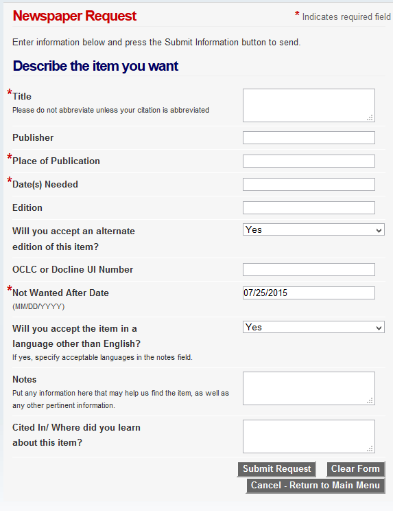 Newspaper Loan Request Form