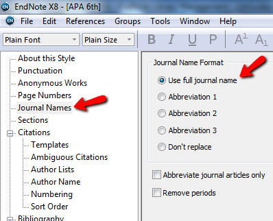 from the top of the menu select journal names and then use full journal names