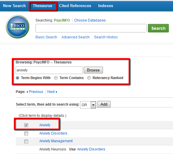 PsycINFO thesaurus searching