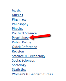 Find PsycINFO by subject list