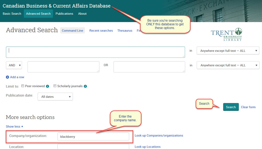 screen capture of a company search in the ProQuest CBCA database