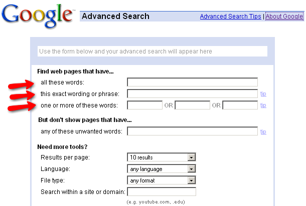 screen capture of Google's Advanced Search