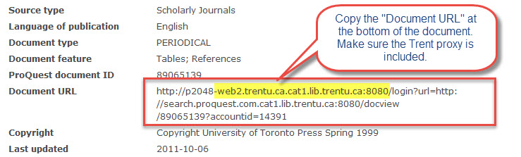 Screen capture for ProQuest permanent links.