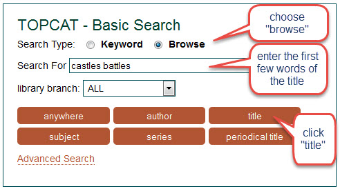 "screen shot of title browse for ""castles battles"""