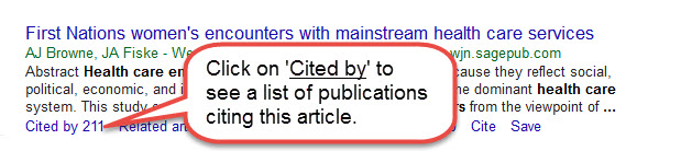 Google Scholar location of Cited by link