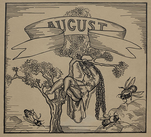 """August,"" by Djuna Barnes. Image depicting woman in tree, with three bees, from Ladies Almanack, page 47 (matted; ink), circa 1928."