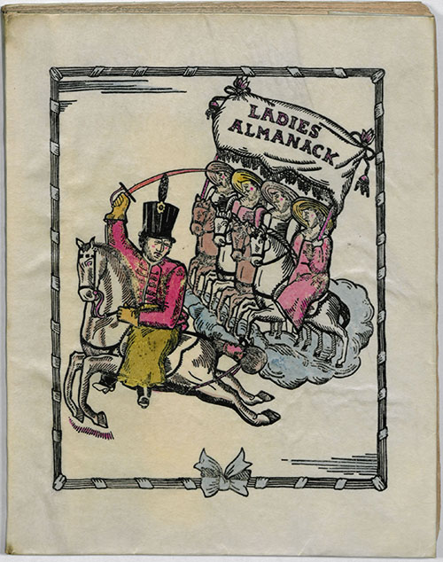 "Hand colored copy of Djuna Barnes' ""Ladies Almanack,"" published at Paris, France, 1928."
