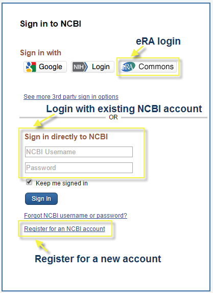 My ncbi era commons nih public access requirement libguides at you can create a my ncbi account by logging in using your era commons credentials after clicking on the era commons button or using a personal user stopboris Images