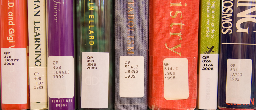 sample call number labels on book spines