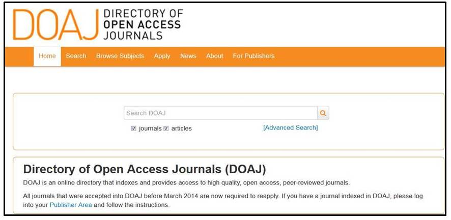 Directory of Open Access Journals home page