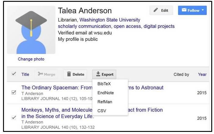 Google Scholar screenshot, showing the option to export BibTex files